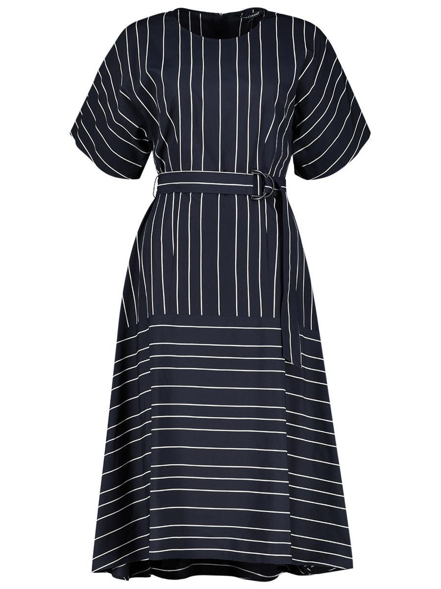 Blended stripes flared dress