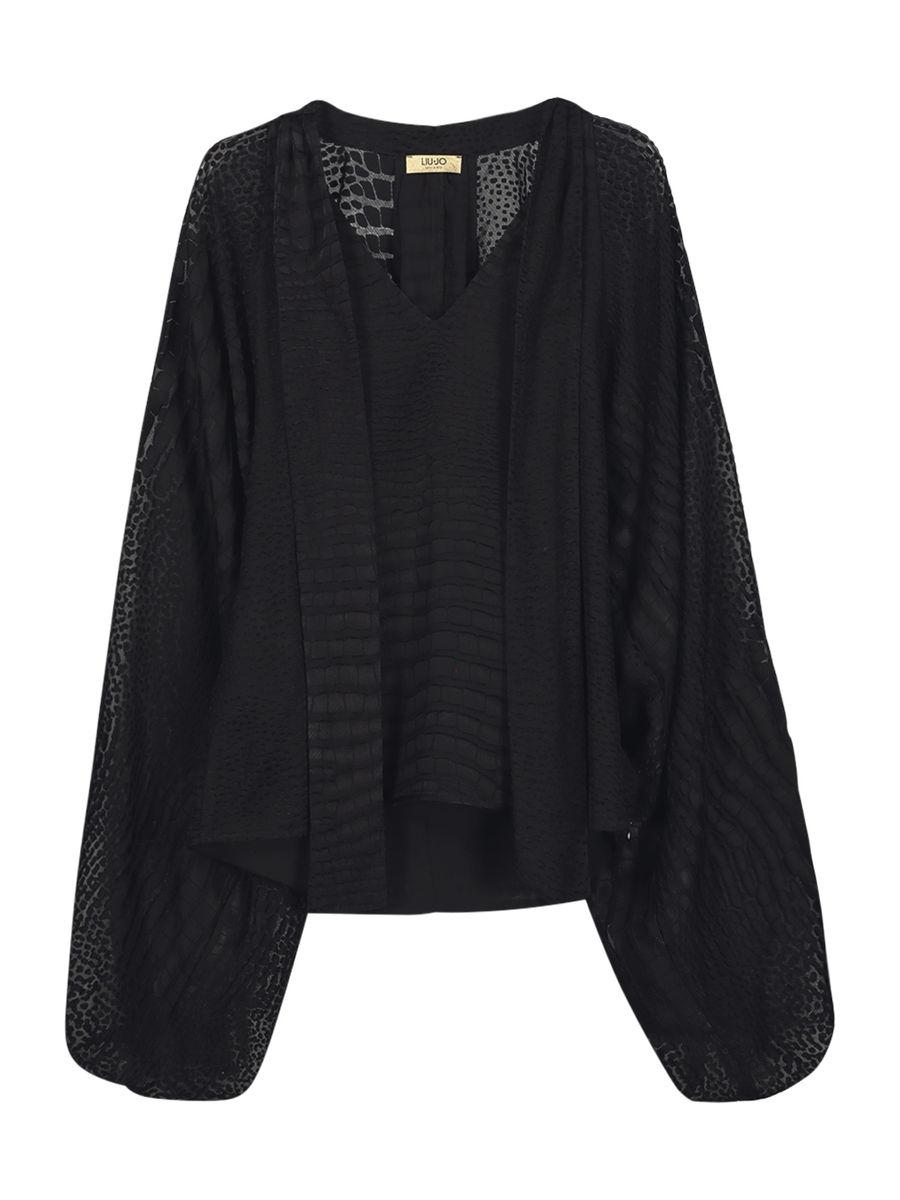 Textured sheer romantic blouse