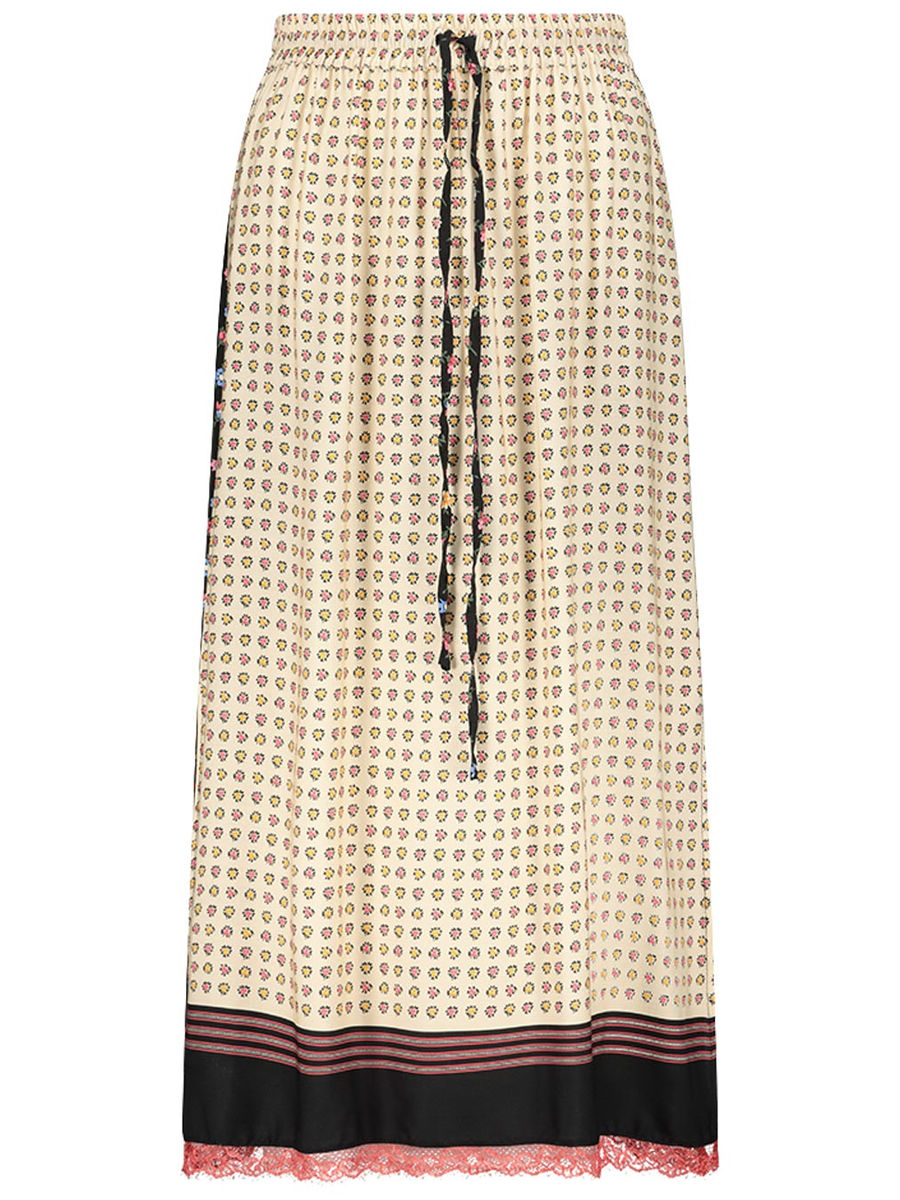 Skirt with contrasting prints