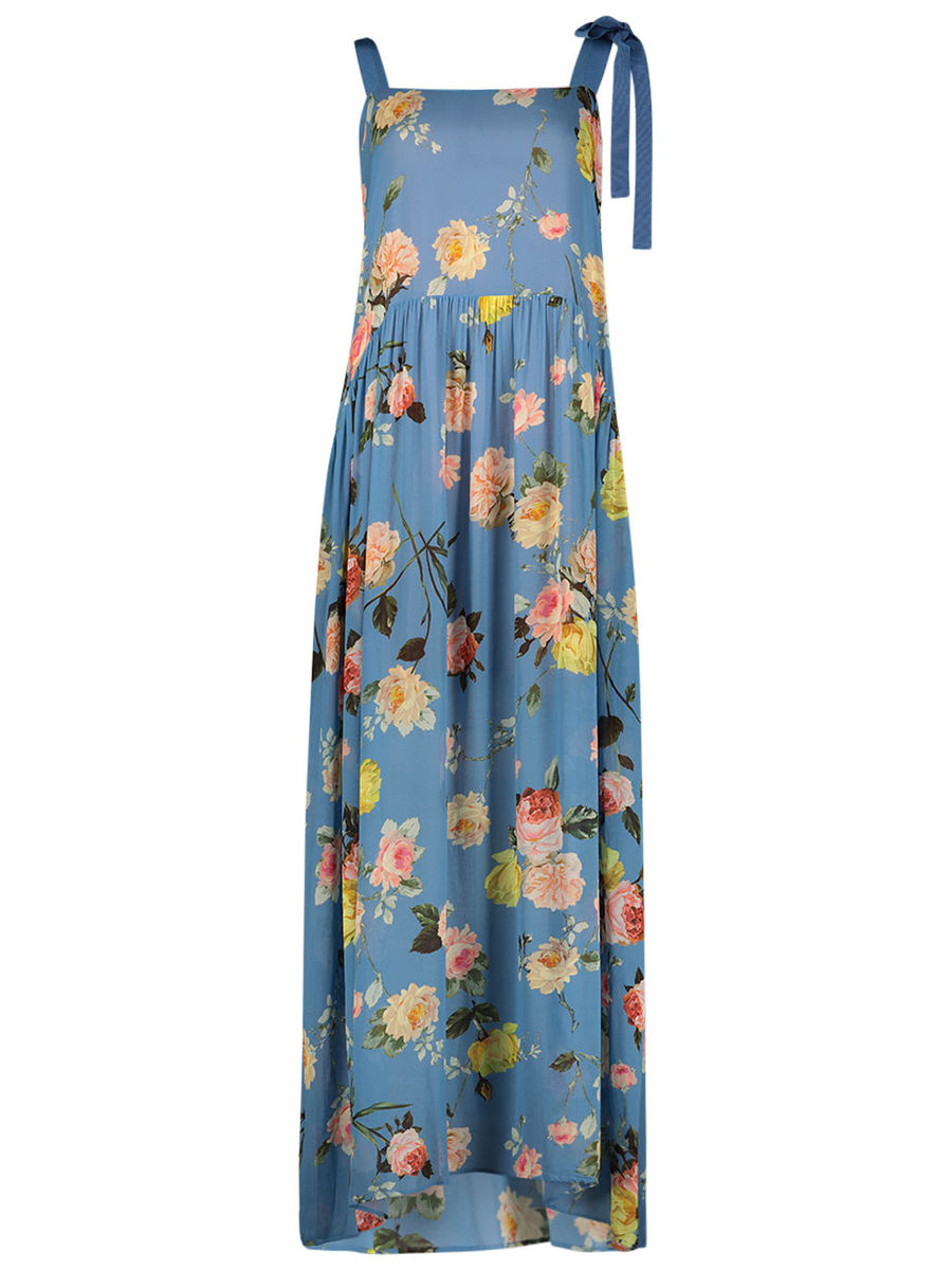 Victorian touch pleated maxi dress