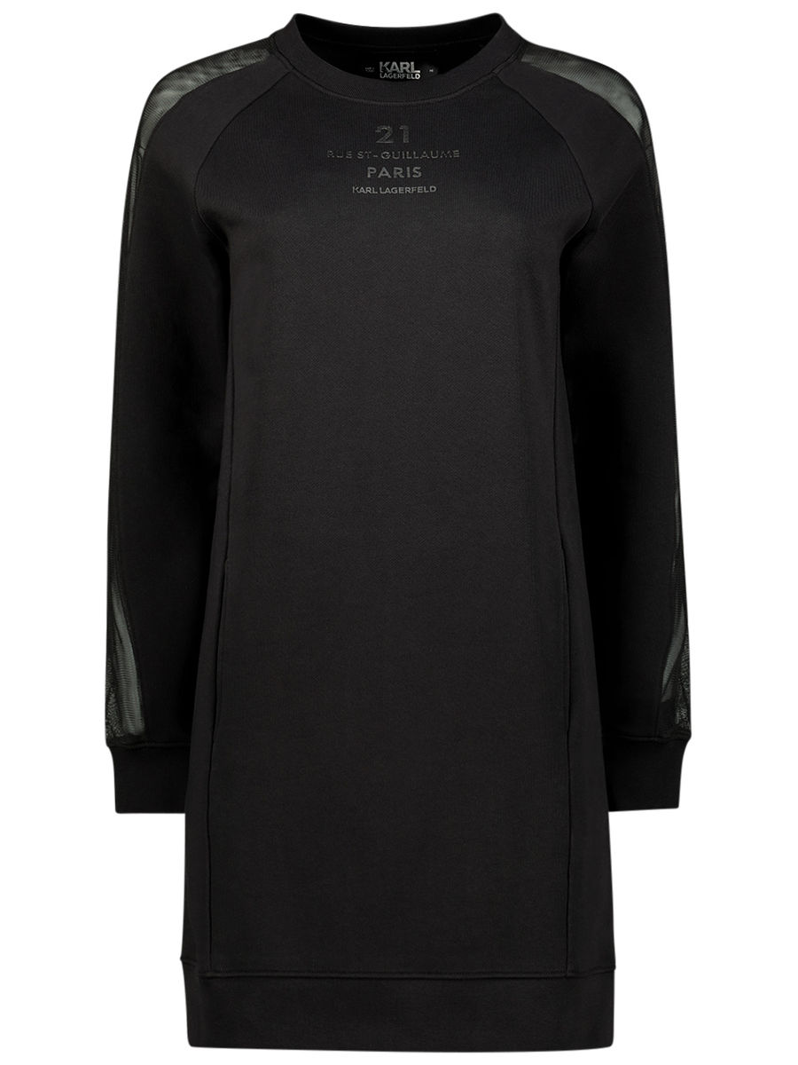Mesh detail sweatshirt dress