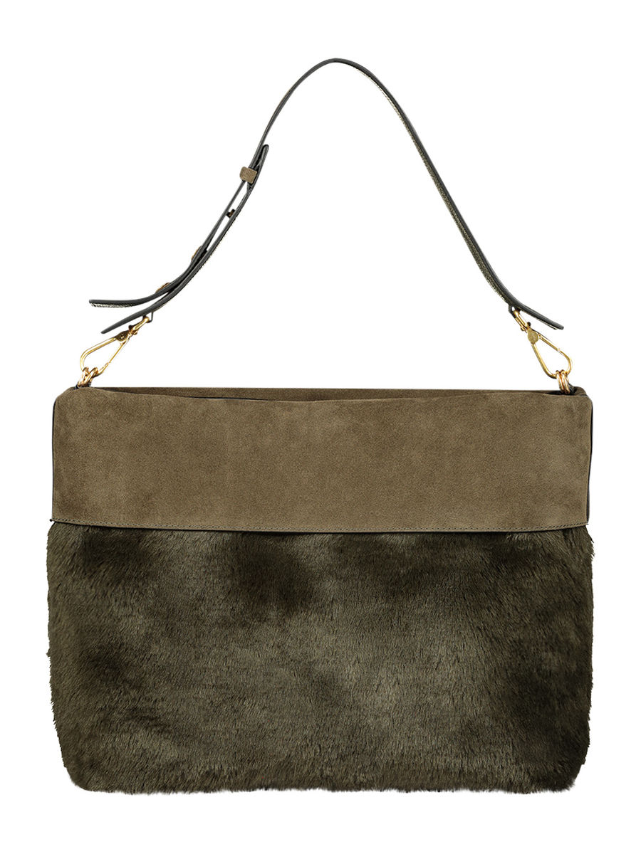 Olive teddy leather bag