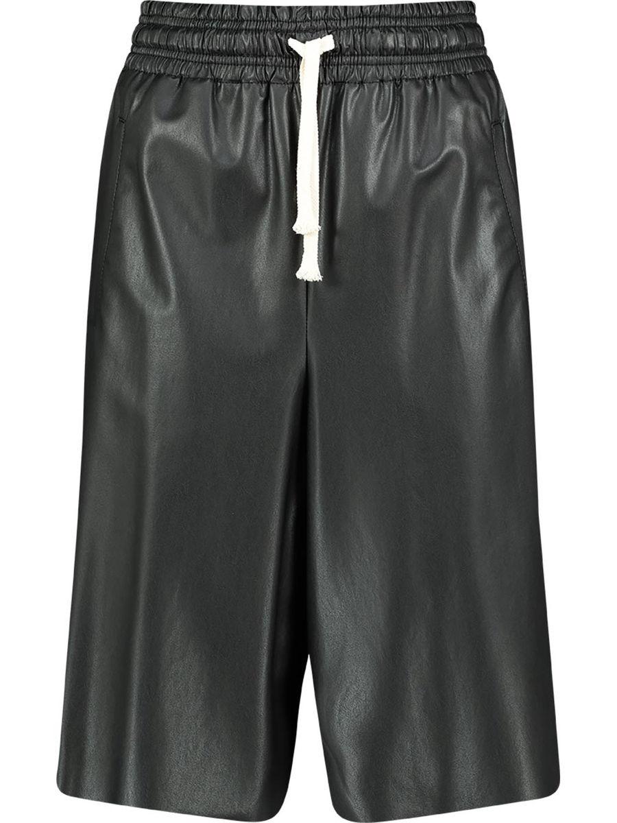 High-Waist-Shorts aus Lederimitat