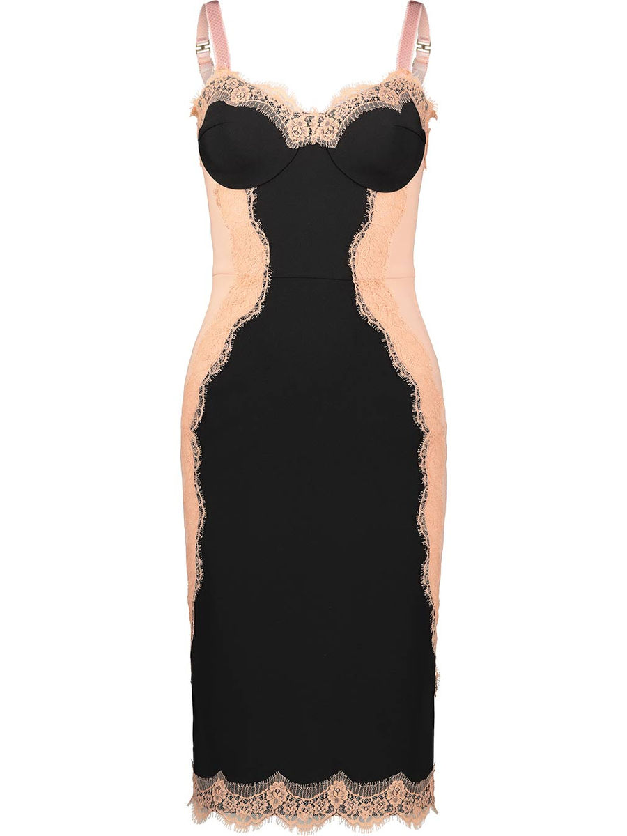 Double textured lace insert dress