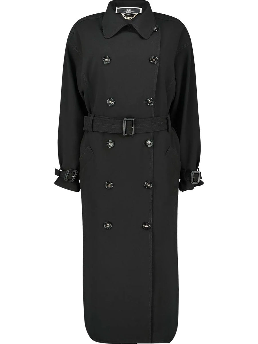 Buttoned detailed belted coat