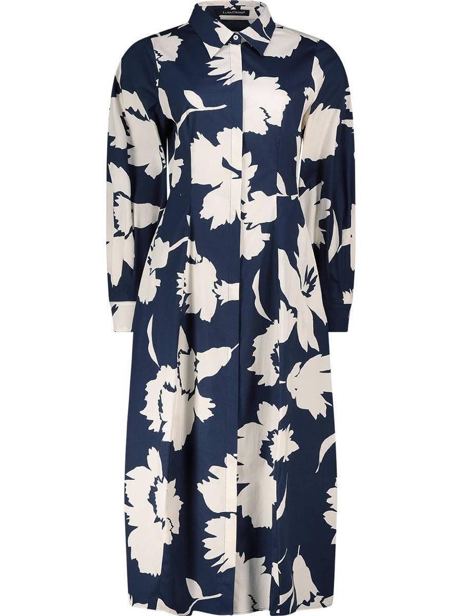 Bold floral shirt dress