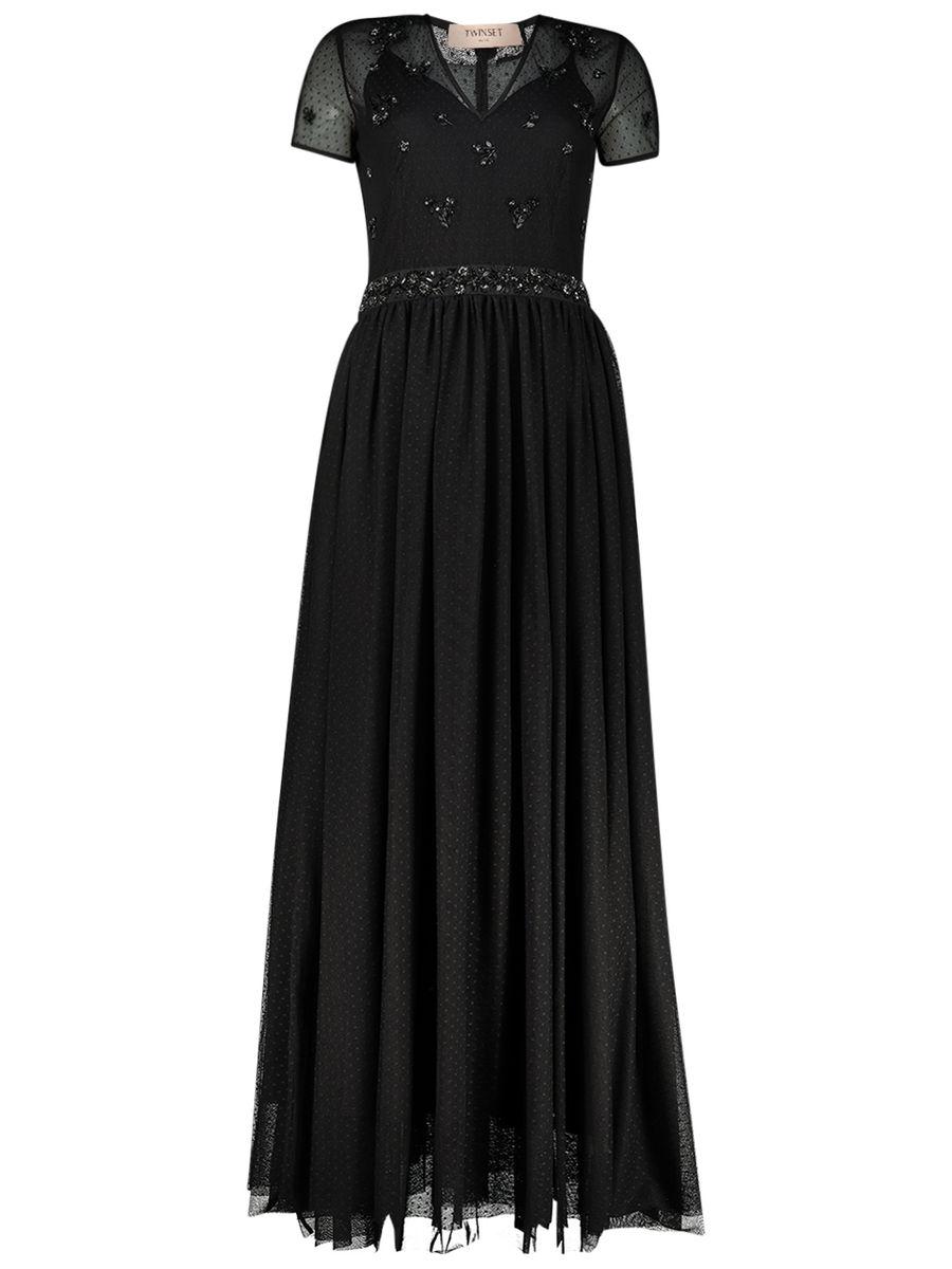 Embellished maxi evening dress