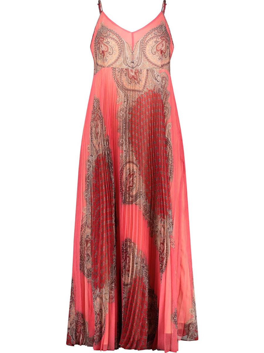 Knife-pleated boho dress