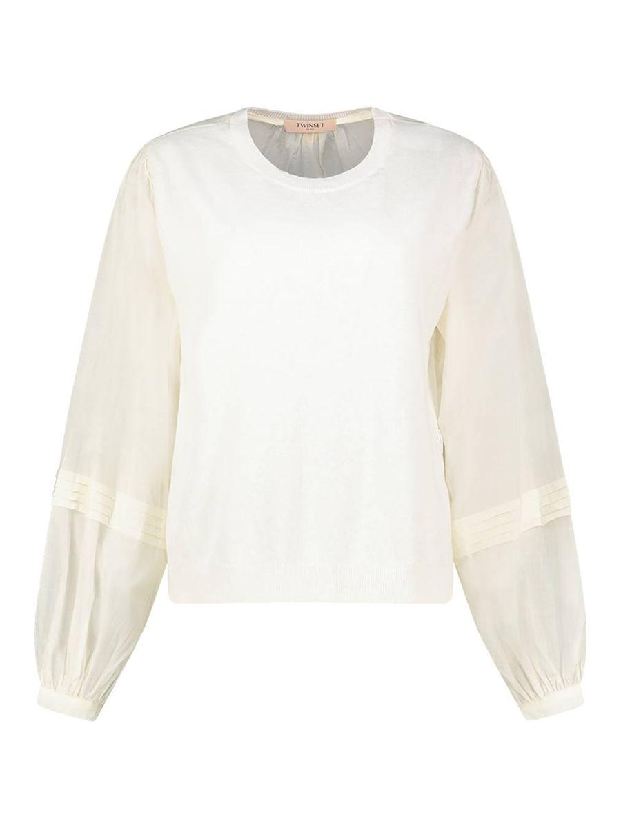 Tailored balloon sleeve blouse