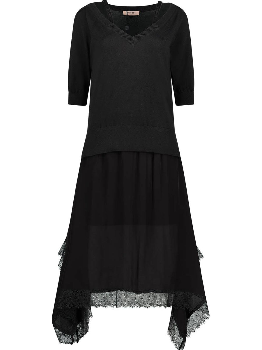 Lace finish midi dress