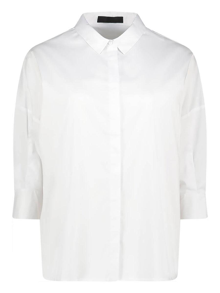 Pearl white cotton blend shirt