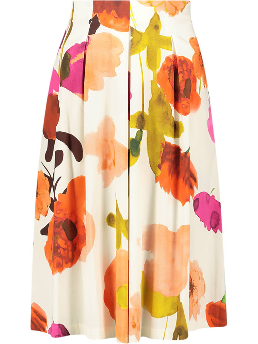 Watercolor effect floral skirt