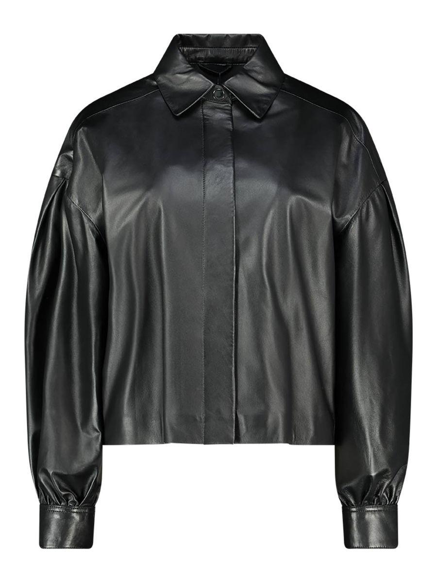 Cuffed sleeve leather jacket