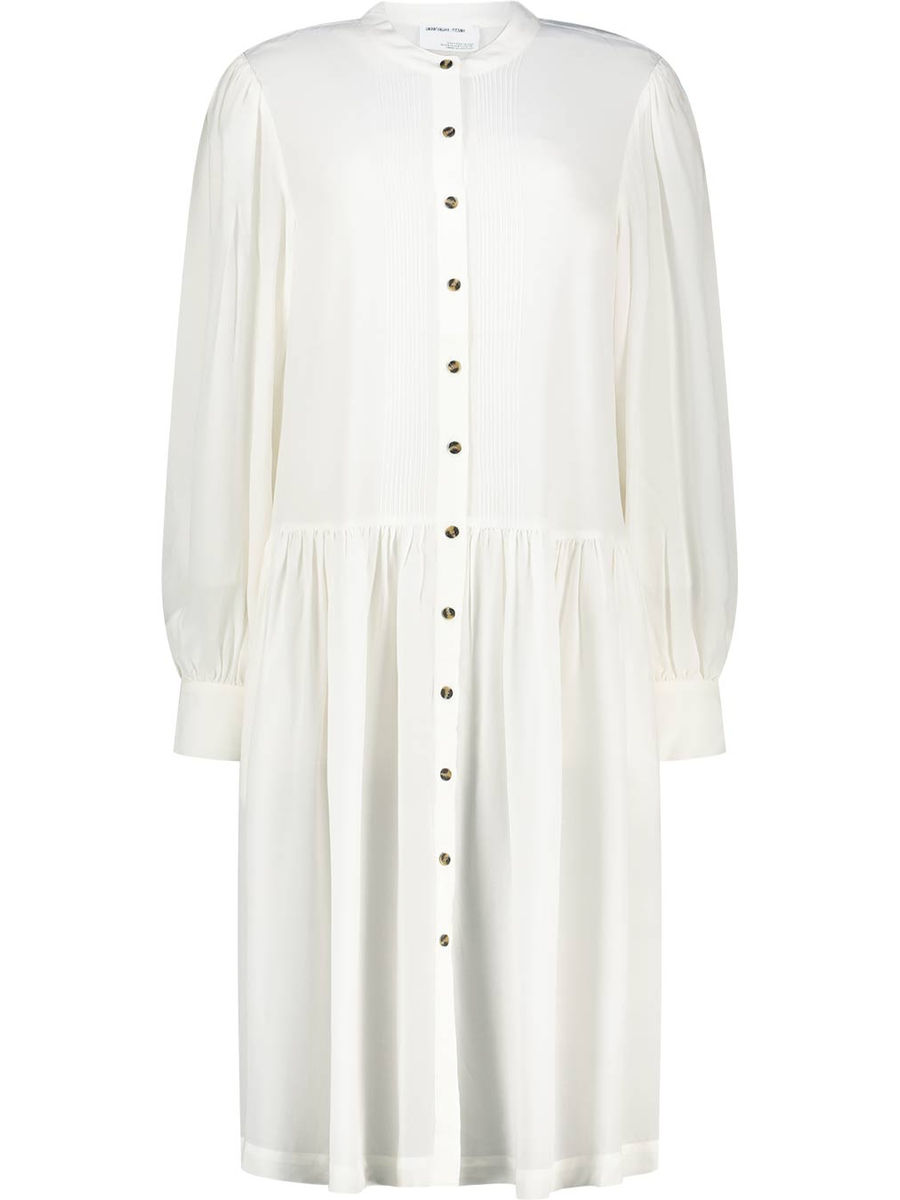Plissiertes Kleid mit Stehkragen
