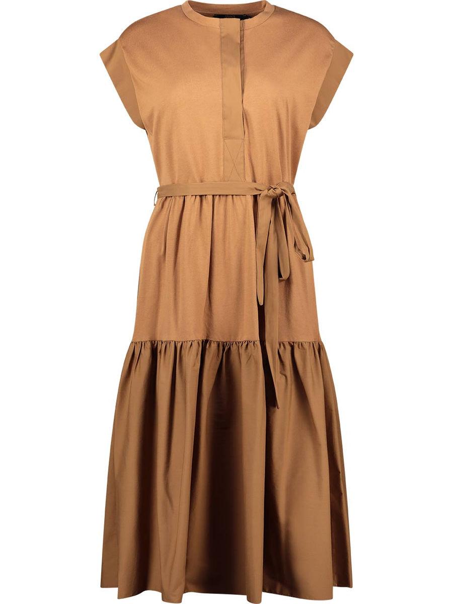 Pleated fall tiered midi dress
