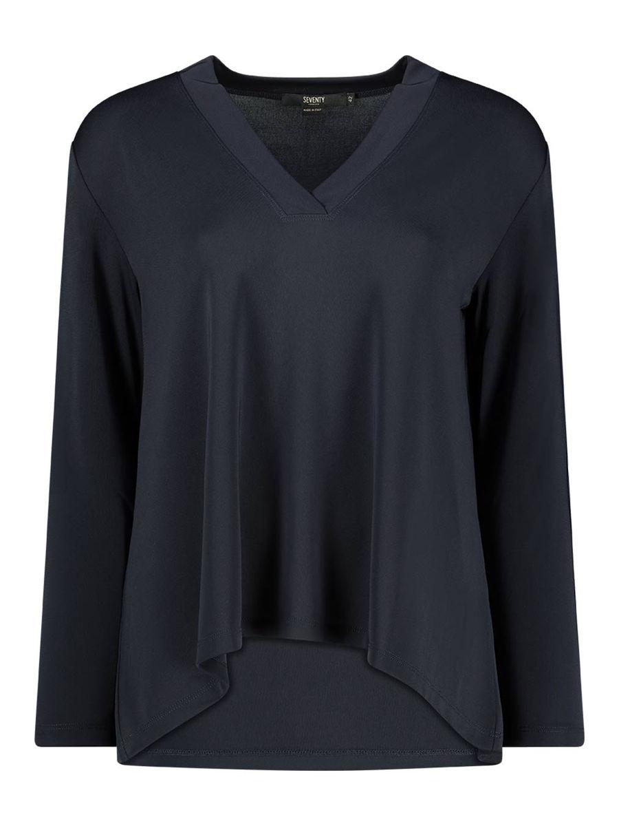 Basic black v-neck blouse