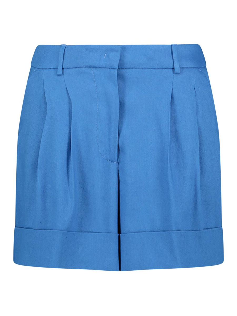 High-waisted pleated shorts