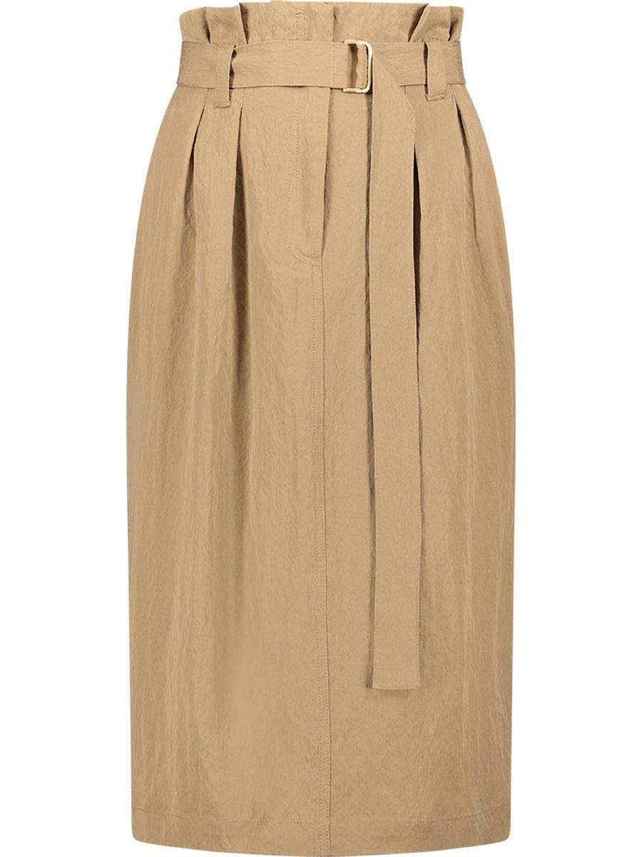 Paperbag pleated midi skirt