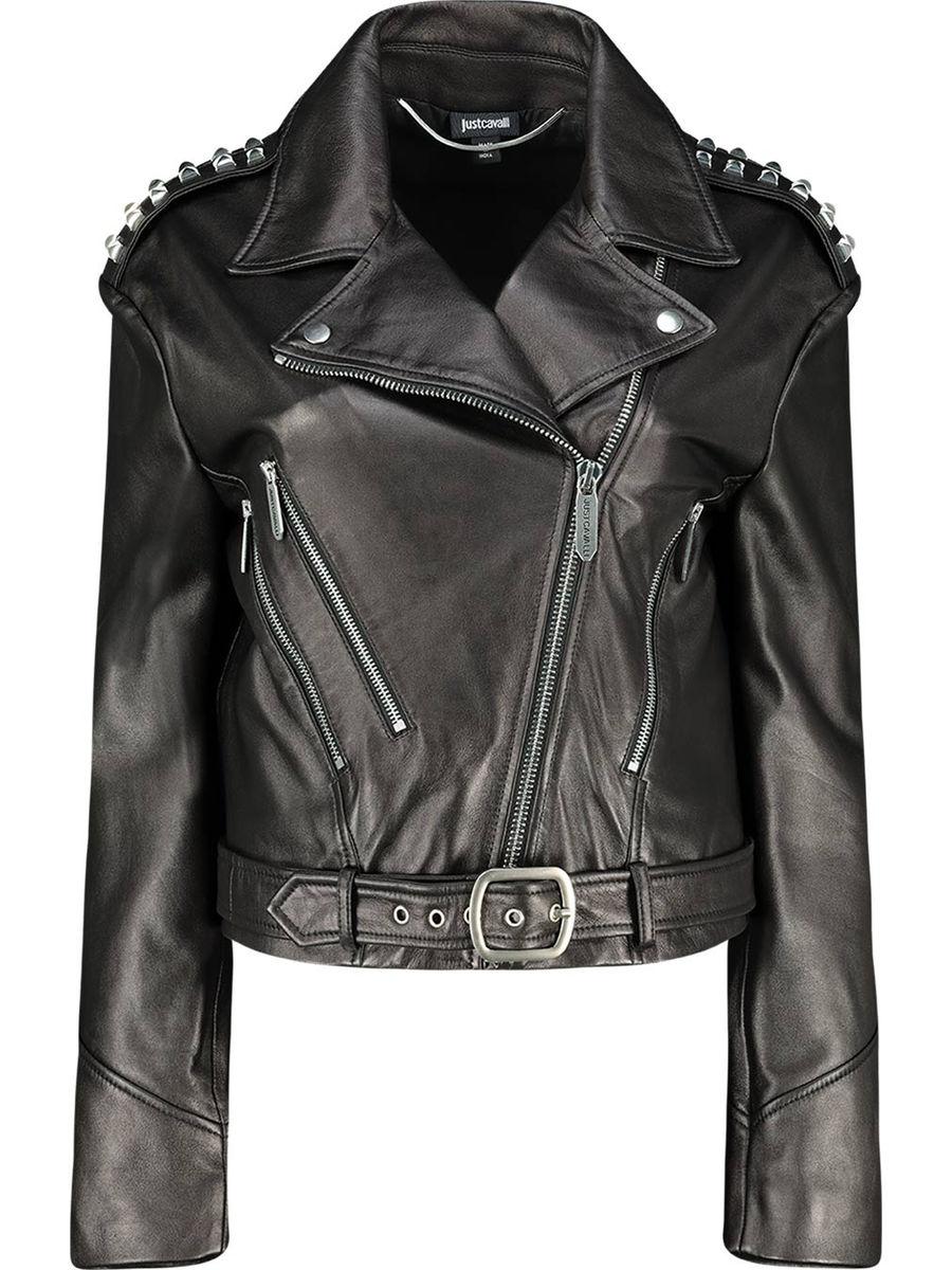 Embellished shoulder biker leather jacket