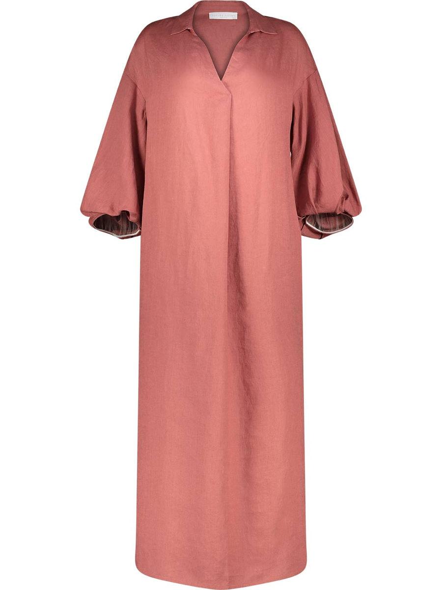 Pure linen v-neck maxi dress