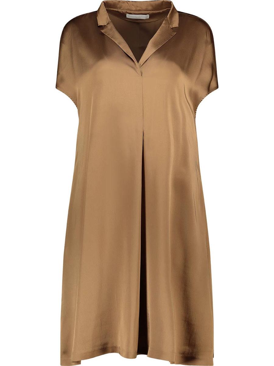 Silk blend inverted pleat shift dress