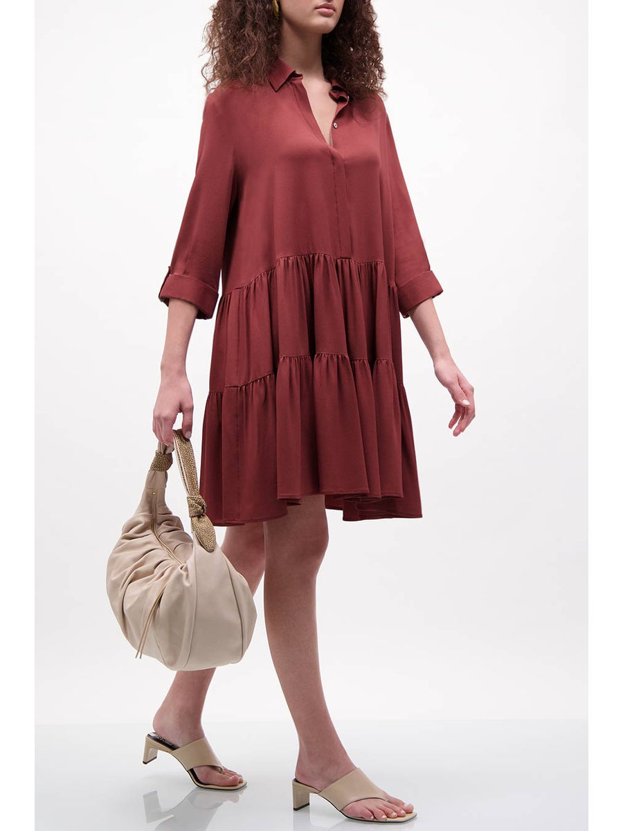 Plum silk-blend tiered dress