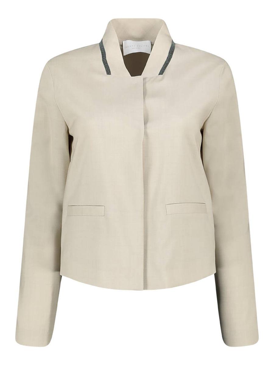 Neutral long sleeve wool jacket