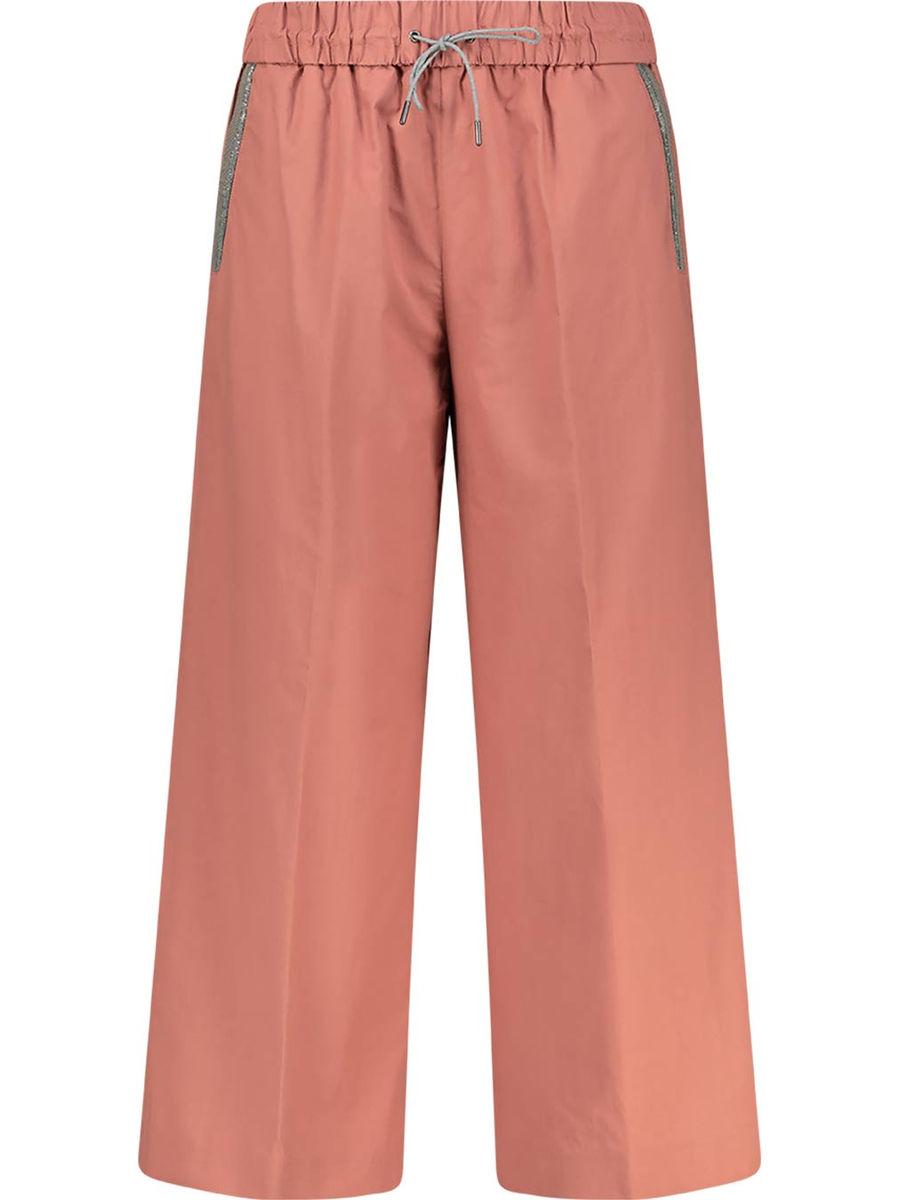 Rust cotton wide leg trousers