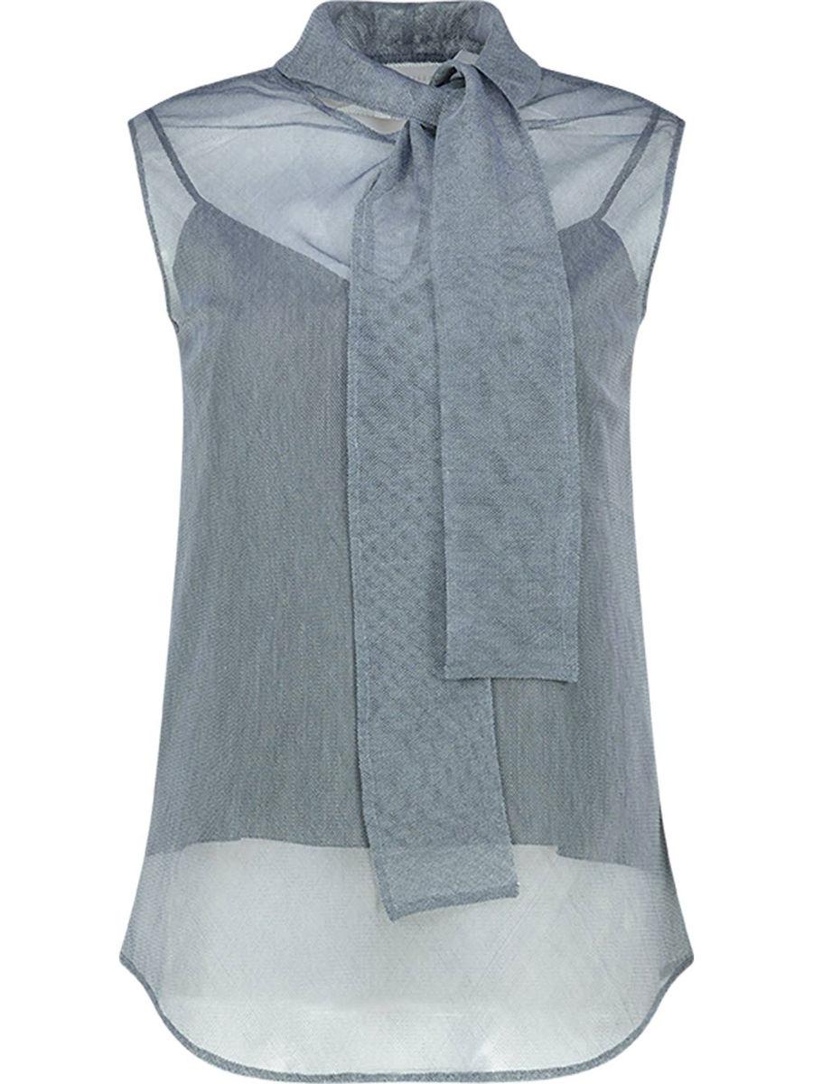 Cotton blend sheer tie neck blouse
