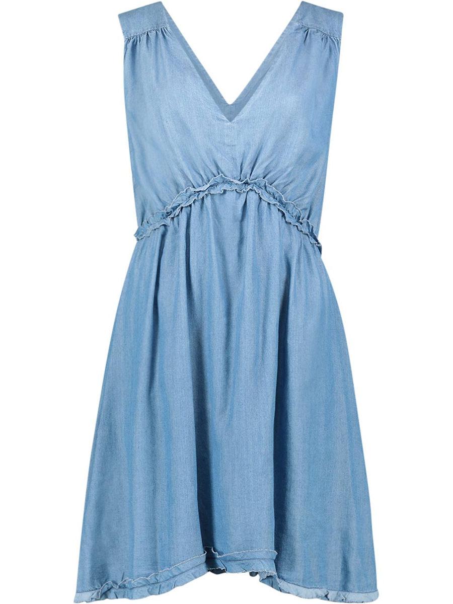Clenched waist sleeveless dress