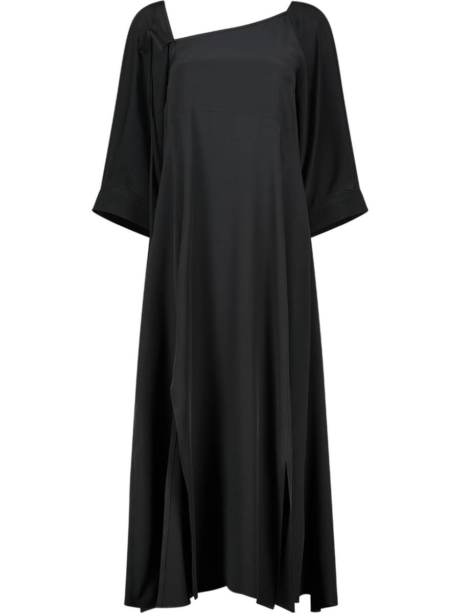 Asymmetric neckline silk shift dress