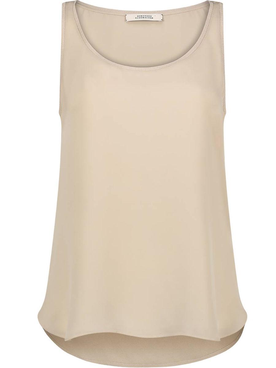 Smooth silk round-neck tank top