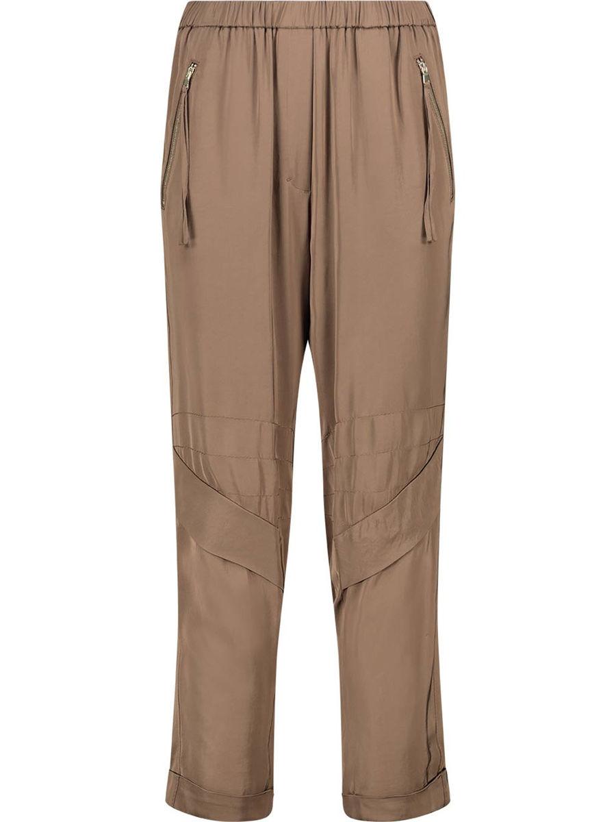 Pleated biker stitch trousers