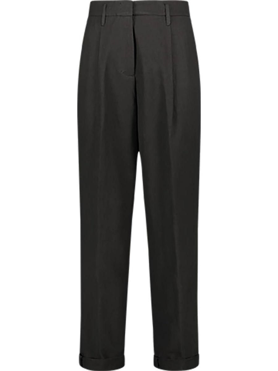 Linen blend high waist pegged trousers