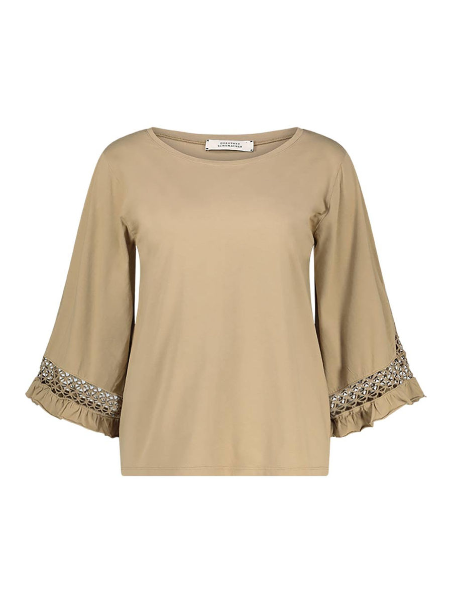 Wide sleeve round neck blouse