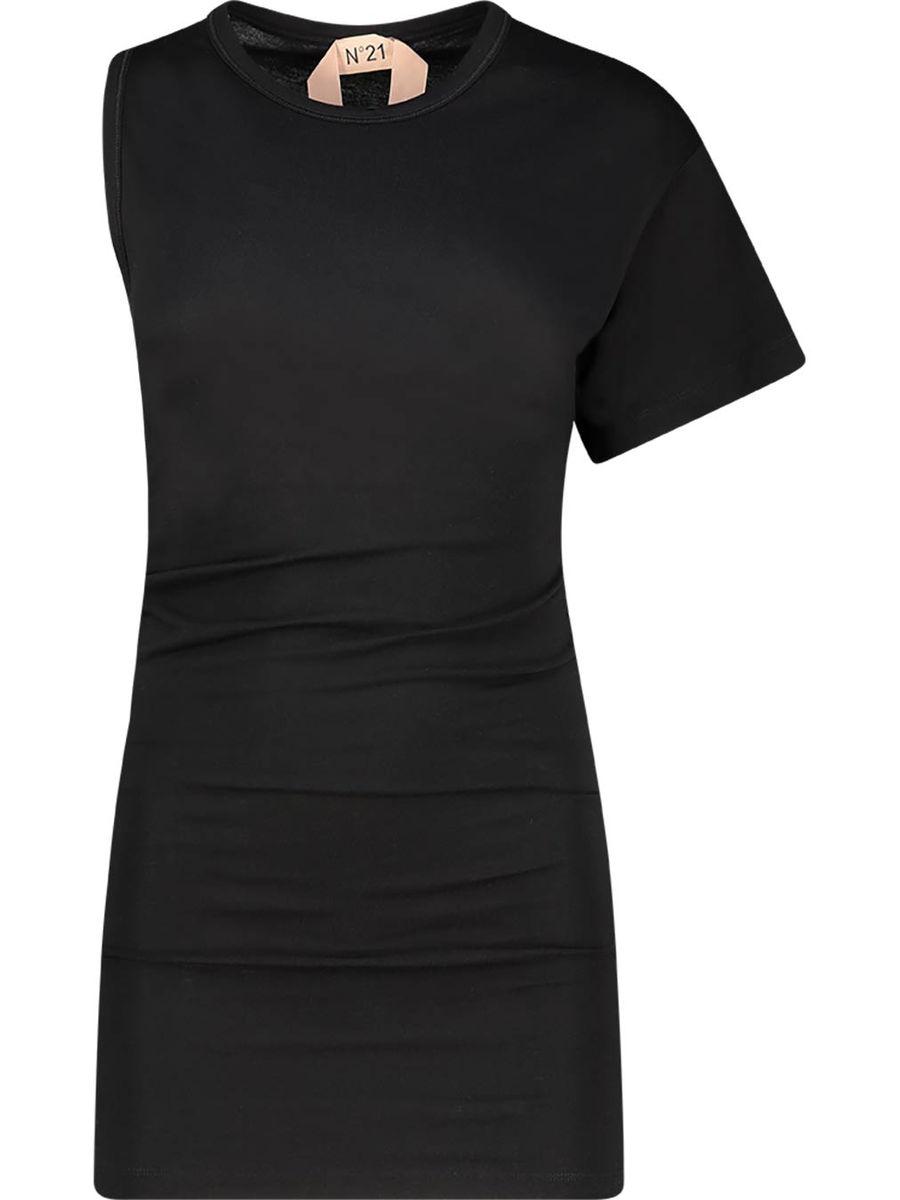 One-shoulder ebony top