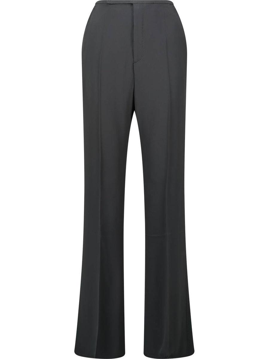 Silk blend straight cut trousers