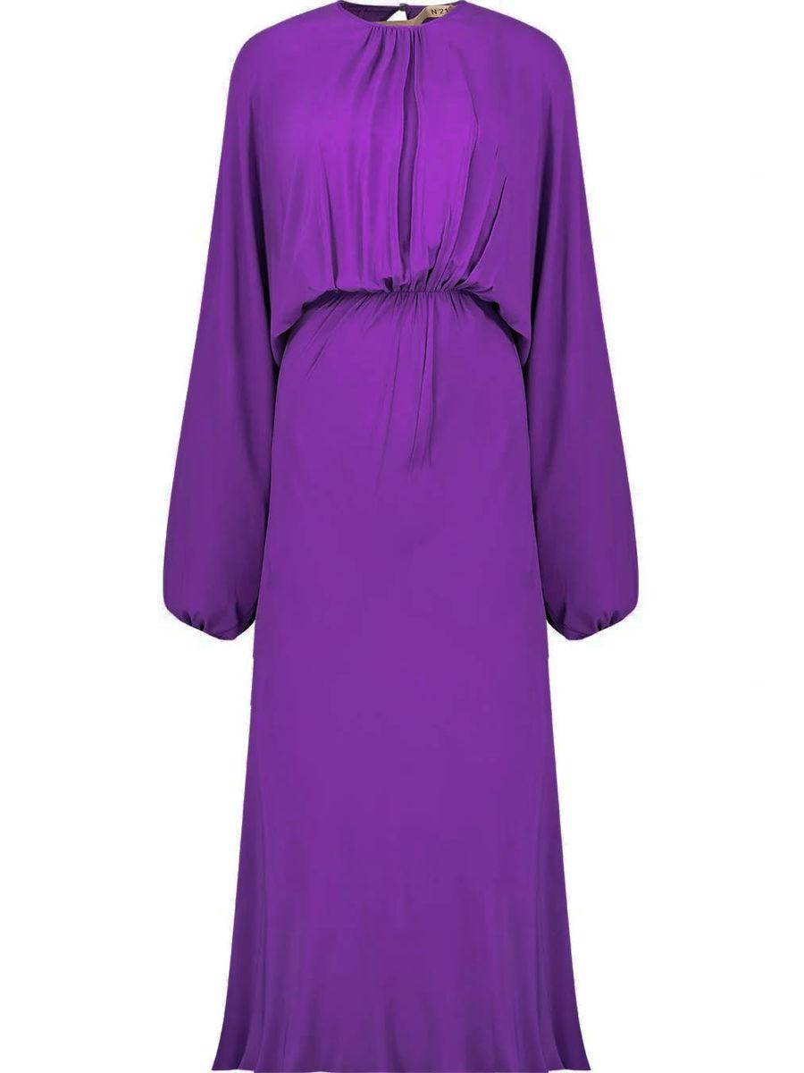 Silk blend gathered midi dress