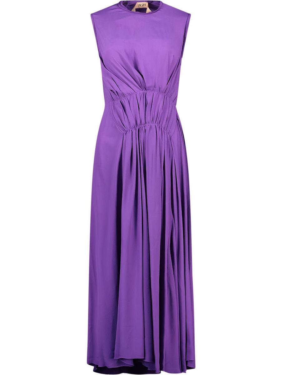 Gathered asymmetrical midi dress