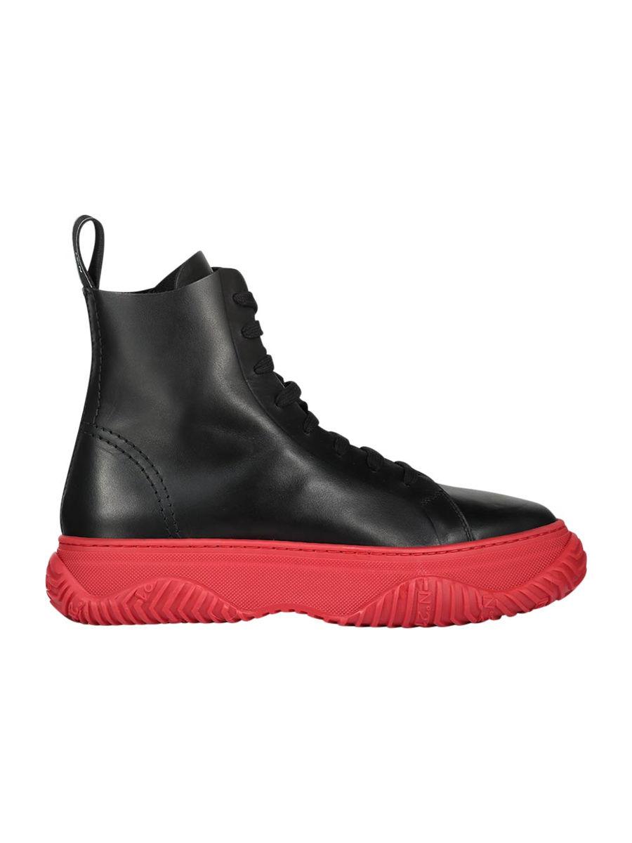 High-Top-Sneaker mit kontrastierender Sohle