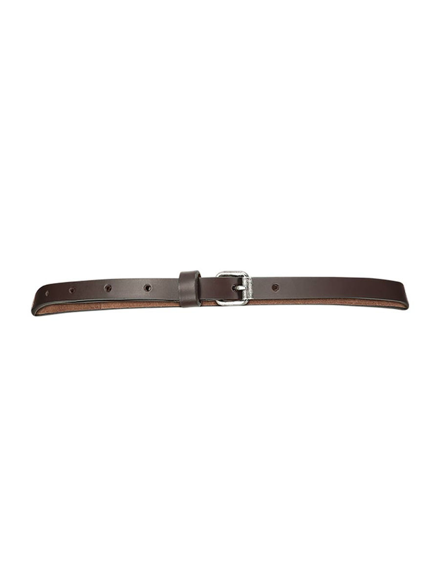 Thin strap rounded tip leather belt