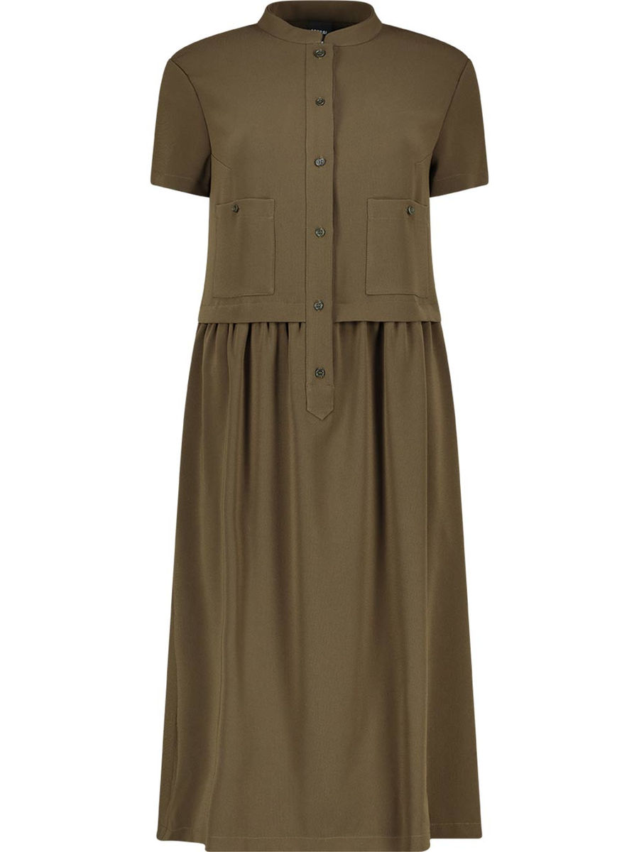 Khakhi toned pleated midi dress