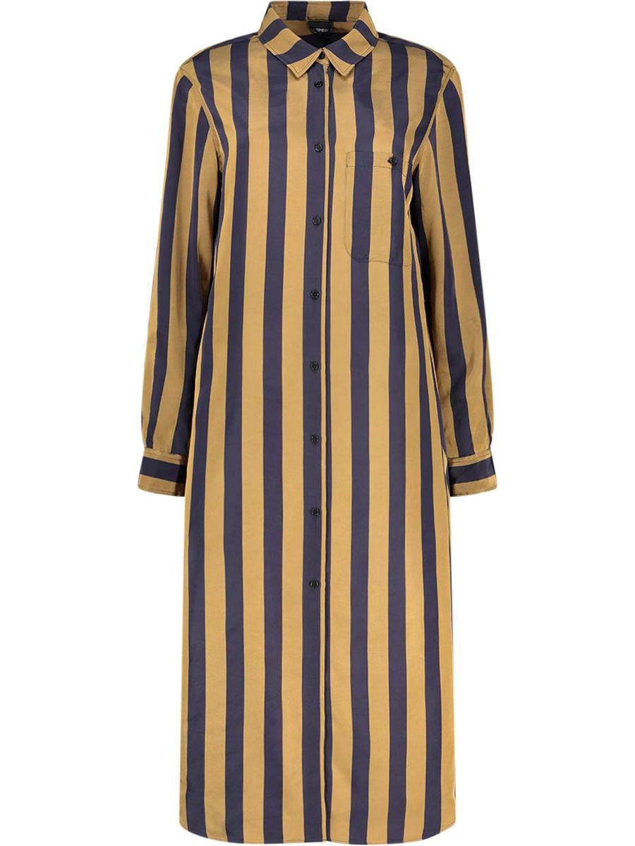 Vertical stripe long sleeve shirt dress