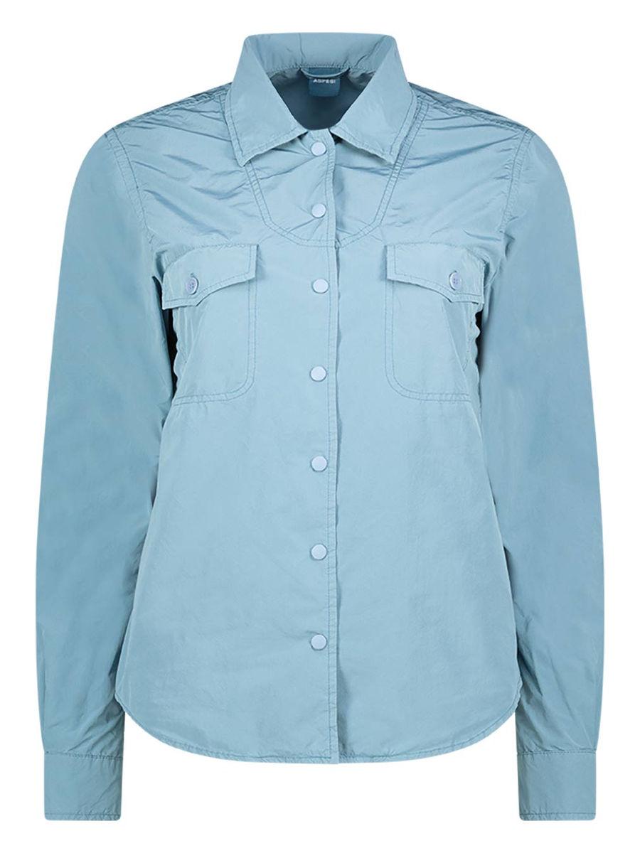 Spread collar button down shirt