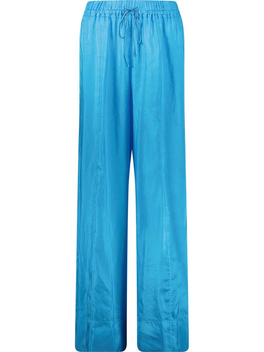 Straight cut silk trousers