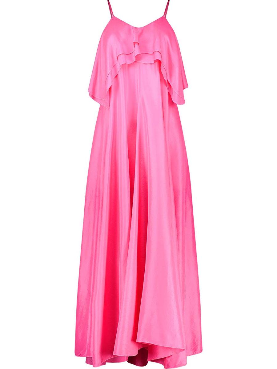 Ruffle detailed silk maxi dress