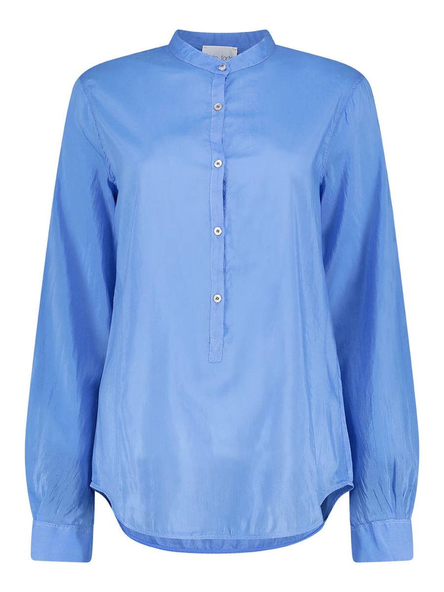 Mandarin collar solid blouse