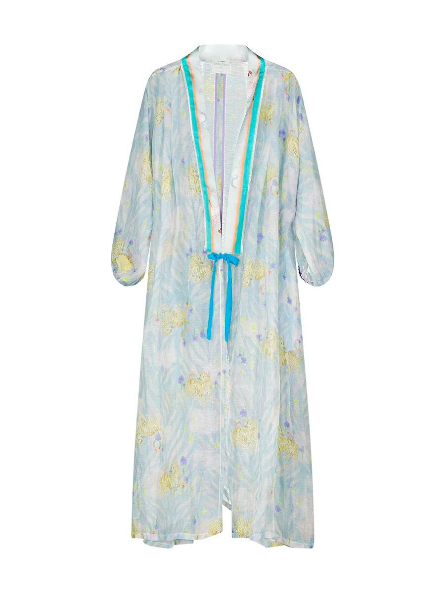 Floral motif longline fluid kimono