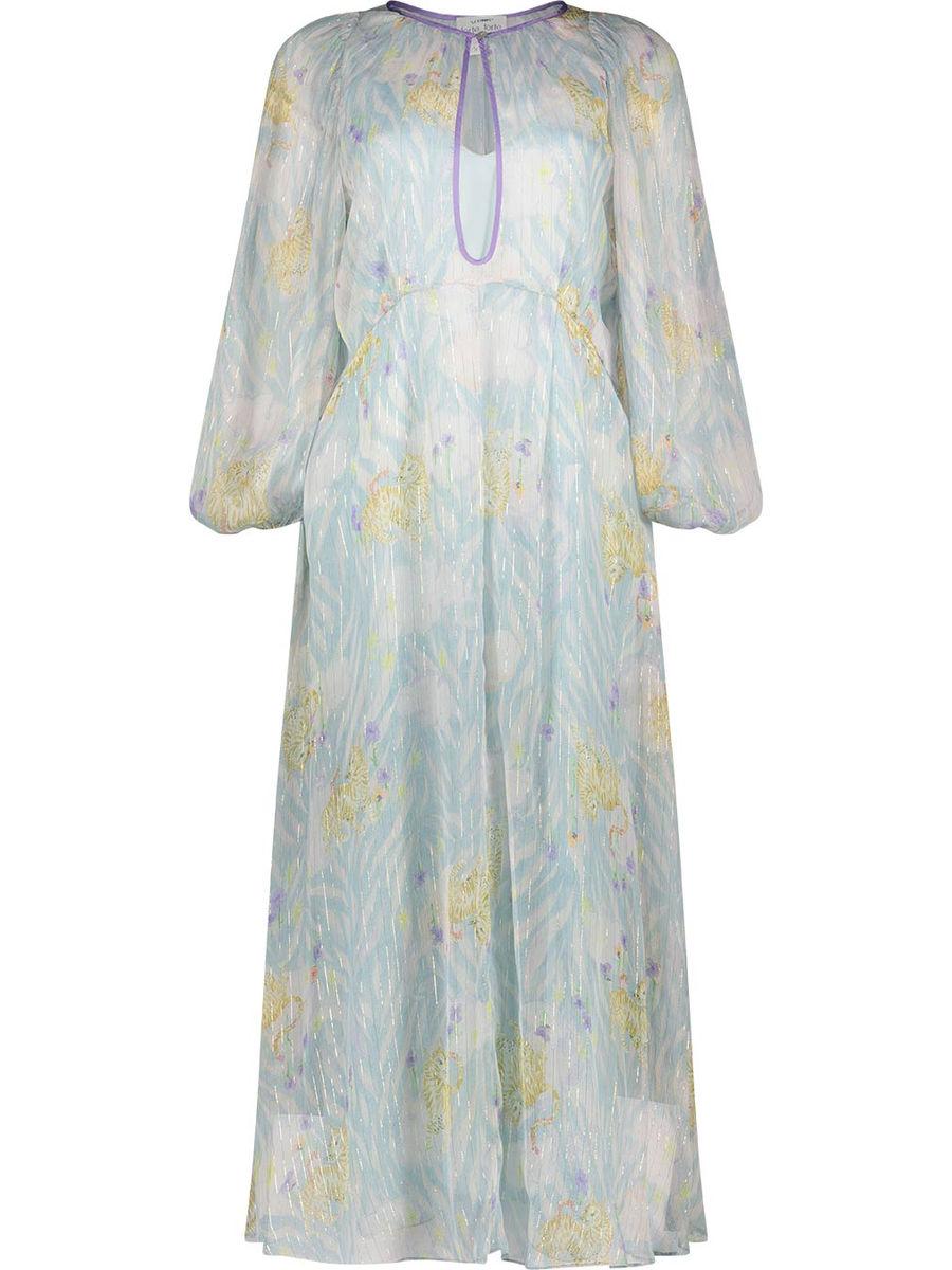 Tiger motif silk maxi dress