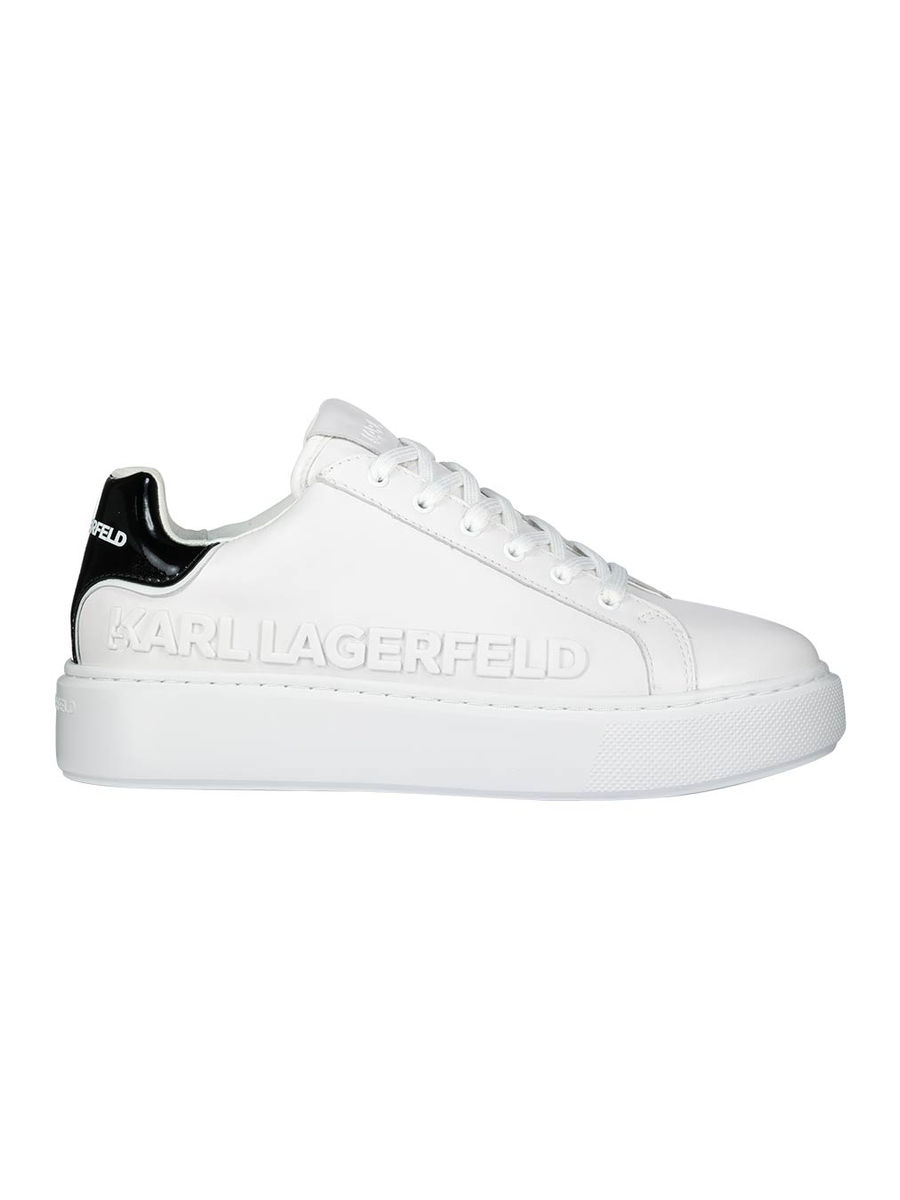Logo embossed classic white sneakers